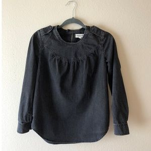 Madewell black chambray popover top